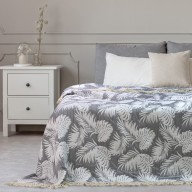 BEDS TROPICALLEAVES FR GREY+WHITE